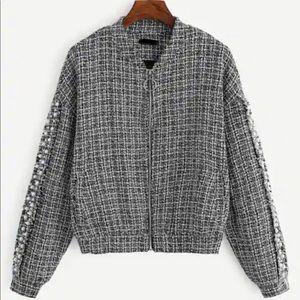 Long Sleeve Tweed Bomber Coat Jacket Pearl Black